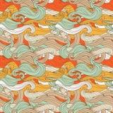 Sömlös textur i skraj stil med färgrika vågor royaltyfri illustrationer