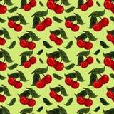 Sömlös textur - ljus saftig ny körsbärsröd frukt vektor illustrationer