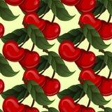 Sömlös textur - ljus saftig ny körsbärsröd frukt stock illustrationer