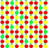 Sömlös textur med Apple i gula och röda färger för gräsplan, royaltyfri illustrationer