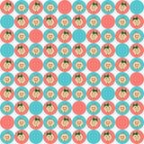 Sömlös textur med babyansikten i blått- och rosa färgcirklar vektor illustrationer