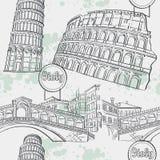 Sömlös textur med bildarhitekturien Italien Coliseumen, denalt bron, tornet av Pisa stock illustrationer