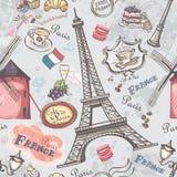 Sömlös textur med bilden av sikten av Paris vektor illustrationer