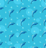 Sömlös textur med delfin, havsdäggdjurdjur Arkivfoto