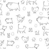 Sömlös textur med djur och ägg Vektor Illustrationer