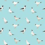 Sömlös textur med flygseagulls Royaltyfri Foto