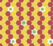 Sömlös textur med gula och röda cirklar Arkivbild