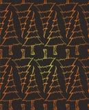 Sömlös textur med guld- klotterjulgranar royaltyfri illustrationer