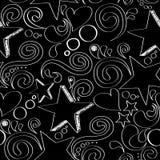 Sömlös textur med hand drog stjärnor, hjärtor och virvlar Arkivfoton
