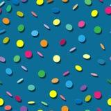 Sömlös textur med konfettier Vektor Illustrationer
