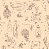 Sömlös textur med kryddor Vektor Illustrationer