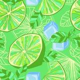 Sömlös textur med limefrukt, mintkaramellen och is Arkivbild