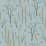 Sömlös textur med ris och blommor Stock Illustrationer