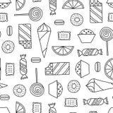 Sömlös textur med sötsaker Arkivfoton