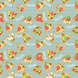 Sömlös textur med skivor av pizza Arkivbilder