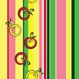 Sömlös textur med stiliserade äpplen och päron Royaltyfri Bild