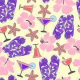 Sömlös textur med stranden anmärker hibiskusen, coctailen, havsstjärna stock illustrationer