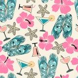Sömlös textur med strandobjekt: hibiskus coctail, havssta stock illustrationer