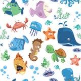 Sömlös textur med tecknad filmfiskar Tryck för textiler med invånarna av havet Utskrift för tyg  vektor illustrationer