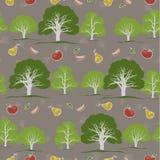 Sömlös textur med trädgården och frukter Stock Illustrationer