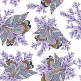 Sömlös textur med utsmyckade blommor och bladet Arkivfoto