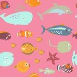 Sömlös textur på marin- tema i stilen för barn` s Royaltyfri Foto