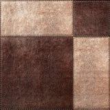 Sömlös texturkombination av läderfyrkanter Royaltyfri Bild