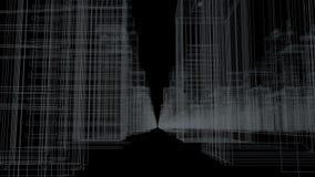 Sömlös tolkning för begrepp för stad för öglasabstrakt begrepphologram 3D med den futuristiska vita matrisen Digital byggnader me stock video