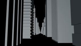 Sömlös tolkning för begrepp för stad för öglasabstrakt begrepp 3D Digital byggnader royaltyfri illustrationer