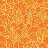 Sömlös trädmodell med skogillustrationen Arkivfoton