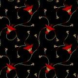 Sömlös traditionell blom- modell med svart bakgrund vektor illustrationer