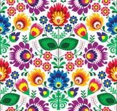 Sömlös traditionell blom- polsk modell - etnisk bakgrund stock illustrationer