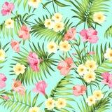 Sömlös tropisk blomma vektor illustrationer