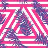 Sömlös tropisk modell, exotisk bakgrund med palmträdfilialer, sidor, blad, palmblad Ändlös textur stock illustrationer
