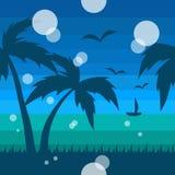 Sömlös tropisk modell med havet och palmträd vektor illustrationer