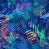 Sömlös tropisk modell med palmblad Arkivbilder