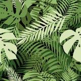 Sömlös tropisk modell med palmblad Arkivfoto