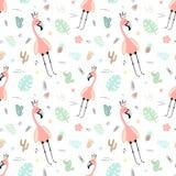 Sömlös tropisk modell med rosa flamingo, krona, sidor, kakturs, monstera Hand-dragen illustration för vektor sommar av en flaming vektor illustrationer