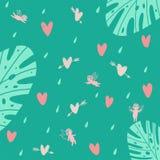 Sömlös turkosbakgrund med änglar och hjärtor och växter stock illustrationer
