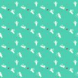 Sömlös turkosbakgrund med änglar och hjärtor royaltyfri illustrationer