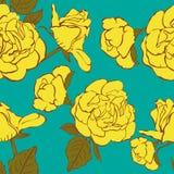 Sömlös turkosbakgrund med hand drog gula rosor. Arkivbild