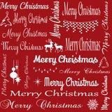 Sömlös typografiillustration för glad jul arkivfoto