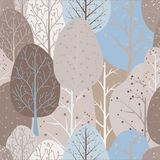 Sömlös upprepande abstrakt bakgrund av abstrakta träd arkivbild
