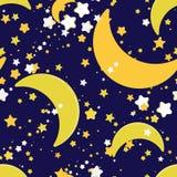Sömlös upprepande bakgrund med stjärnor och halvmånformigt Arkivfoton