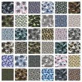 Sömlös uppsättning av kamouflagemodellvektorn Royaltyfria Bilder