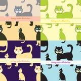 Sömlös uppsättning av katter till hälsningkortet också vektor för coreldrawillustration Arkivbild