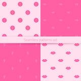 Sömlös uppsättning för vektor med rosa bokstäver som är passande för utskrift på en variation av yttersidor Royaltyfri Foto