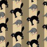 Sömlös uppsättning med musen och katten Arkivbilder