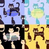 Sömlös uppsättningfärg för katter för hälsningkort också vektor för coreldrawillustration Royaltyfria Bilder