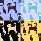 Sömlös uppsättningfärg för katter också vektor för coreldrawillustration Arkivfoto